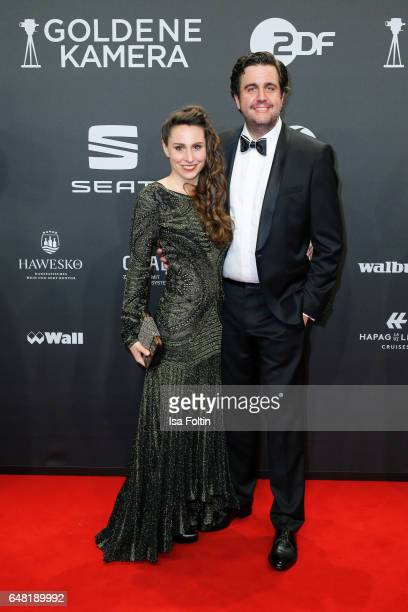 German comedian Bastian Pastewka and his wife Heidrun Buchmaier arrive for the Goldene Kamera on March 4, 2017 in Hamburg, Germany.