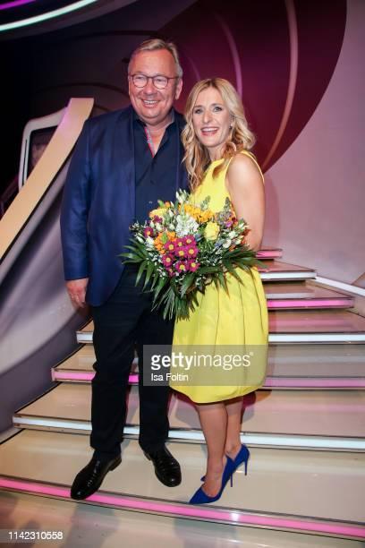 German comedian Bernd Stelter and German presenter and singer Stefanie Hertel during the tv show Stefanie Hertel Die grosse Show zum Muttertag on May...