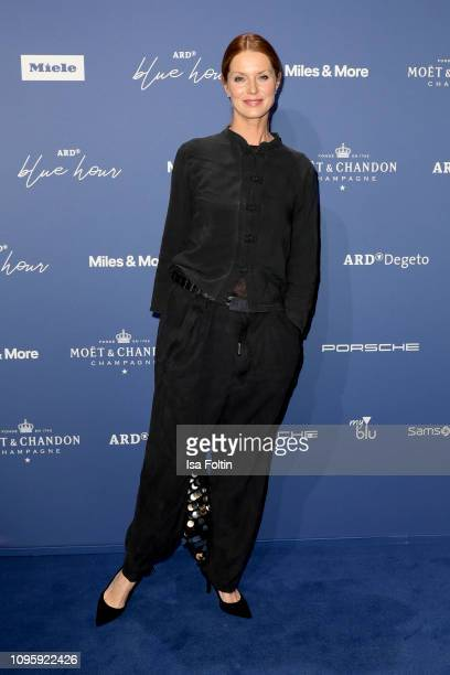 German comedian Esther Schweins attends the Blue Hour Party hosted by ARD during the 69th Berlinale International Film Festival at Haus der...