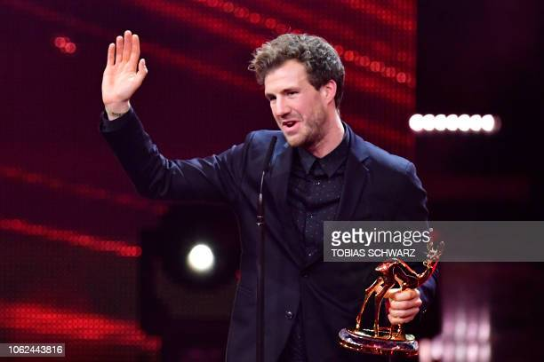 German comedian Luke Mockridge speaks after receiving the Bambi Award during the award ceremony on November 16 2018 at the Stage Theatre on Potsdamer...