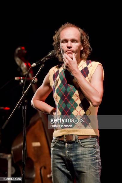 German comedian Olaf Schubert performs live on stage during his show at the Tempodrom on September 23 2017 in Berlin Germany
