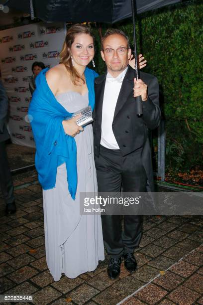 German comedian Wigald Boning and Teresa Tieschky attend the Bayreuth Festival 2017 Opening on July 25 2017 in Bayreuth Germany