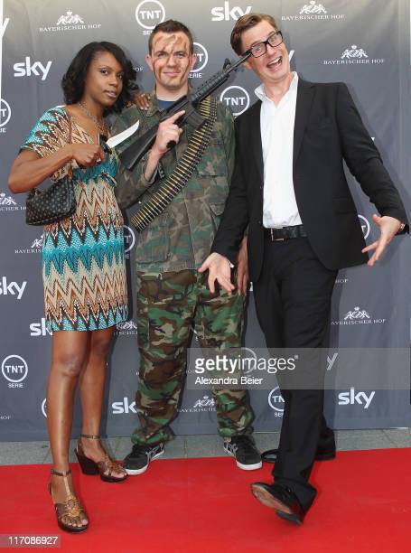 German comedin Florian Simbeck and his wife Stephanie pose during a photo opportunity before the screening of the Germany premiere on TNT Serie...