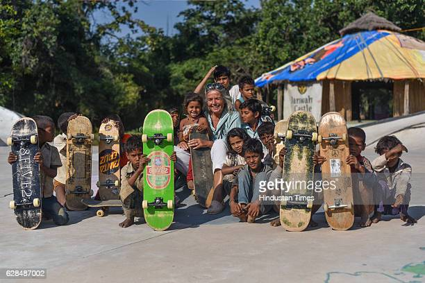 German community activist and author Ulrike Reinhard with village children at Skating park, popularly known as Janwaar Castle on October 26, 2016 in...