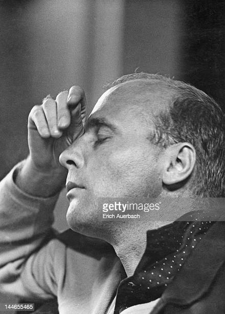 German composer and conductor Hans Werner Henze, rehearsing the London Symphony Orchestra at Morley Hall, London, 21st August 1963.