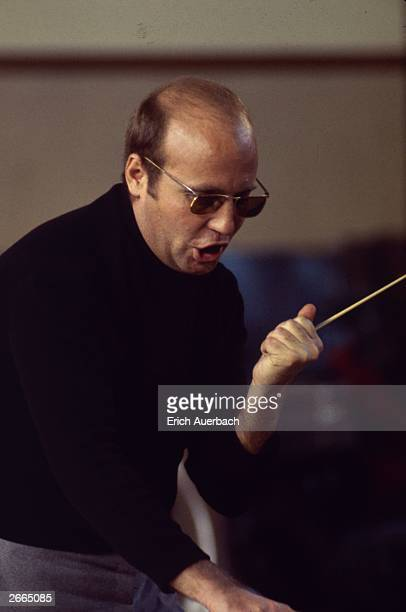 German composer Hans Werner Henze conducts the English Chamber Orchestra at Morley College in London.