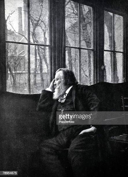 German composer Johannes Brahms 1822 1897 looking out of his window