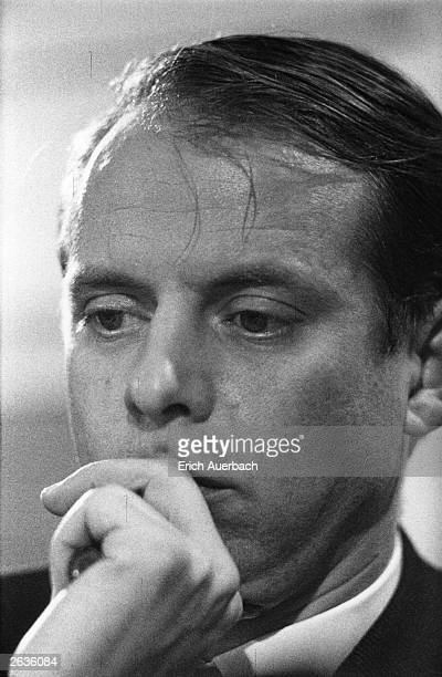 German composer Karlheinz Stockhausen speaking at the ICA Forum, London. One of the founders of West German Radio's important Electronic Music Studio...