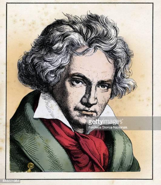 German composer Ludwig Van Beethoven colored engraving by Hugo Burkner Germany circa 1860