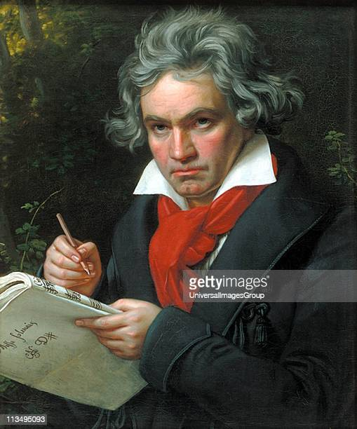 German composer Ludwig van Beethoven composing the 'Missa Solemnis', February-April 1820. Oil painting by August Klober.