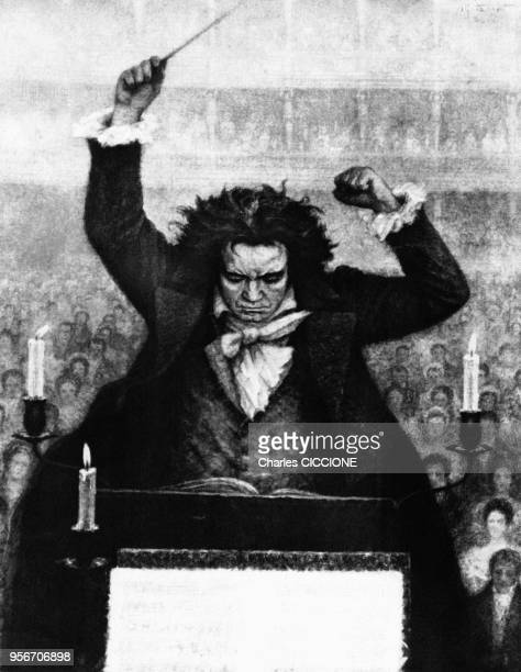 German composer Ludwig van Beethoven conducting, circa 1800. Le compositeur allemand Ludwig van Beethoven dirigeant un orchestre.