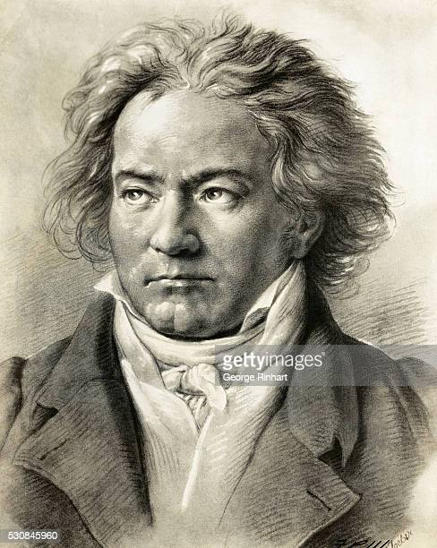German composer Ludwig Van Beethoven is shown in an illustrated portrait