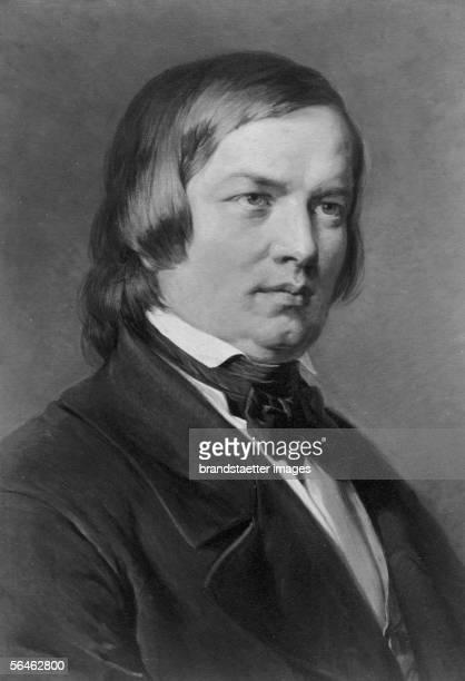 German Composer Robert Schumann, by Carl Jaeger. Around 1890. [Robert Schumann, dt. Komponist, * 1810, 1856; wirkte in Leipzig, Dresden, Duesseldorf;...