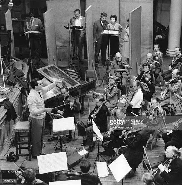 German conductor Wolfgang Sawallisch conducting a Philharmonic Orchestra in a studio recording of Strauss' opera 'Capriccio' at Kingsway Hall London...
