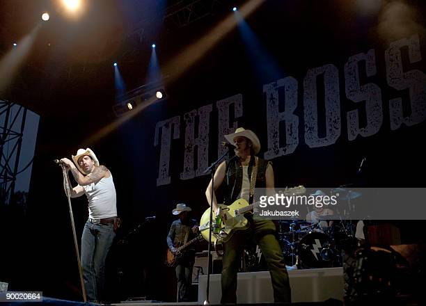 German country singers Alec 'Boss Burns' Voelkel and Sascha 'Hoss Power' Vollmer of the band The BossHoss perform live during a concert at the...