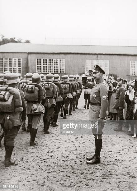 German Crownprince William from Prussia Photography 1932 [Kronprinz Wilhelm von Preussen aeltester Sohn von Wilhelm II nimmt eine Parade ab...