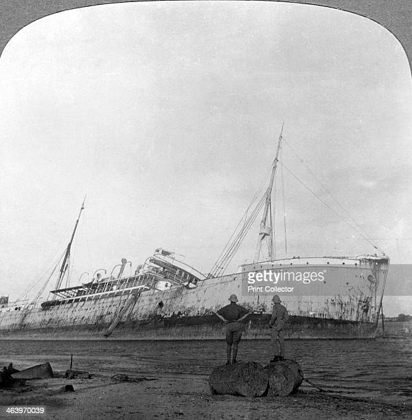 German cruiser sunk off Dar es Salaam Tanzania World War I 19141918 Possibly the light cruiser 'Konigsberg' sunk by the British in the Battle of...