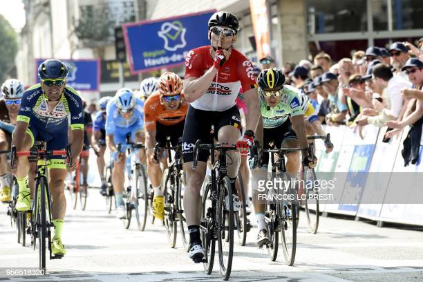 German cyclist Andre Greipel of Lotto Soudal team crosses the finish line to win the second stage of the 64th edition of the Four Days of Dunkirk...