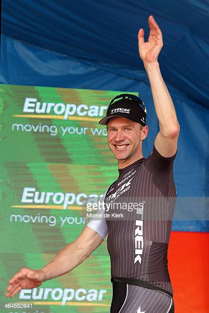 German cyclist Jens Voigt of the Trek Factory Racing team celebrates on stage after being awarded the Most Competitive Rider title after Stage Three...