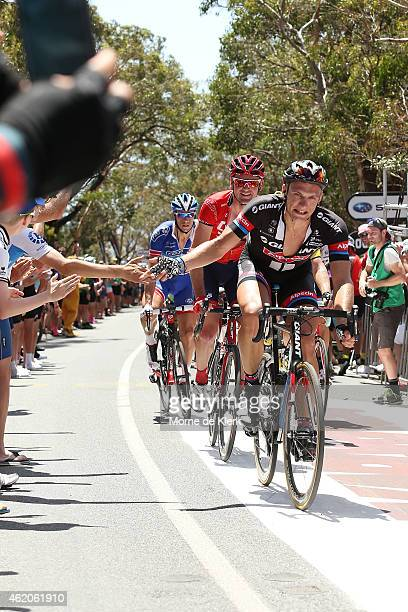 German cyclist Marcel Kittel of Team Giant Alpecin interacts with the crowd as he climbs Willunga Hill during Stage 5 of the 2015 Santos Tour Down...