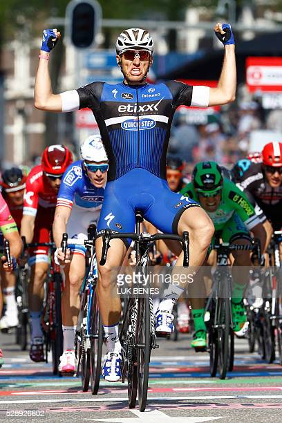 German cyclist Marcel Kittel of the EtixxQuickStep team crosses the finish line and wins the 2nd stage of the 99th Giro d'Italia Tour of Italy from...