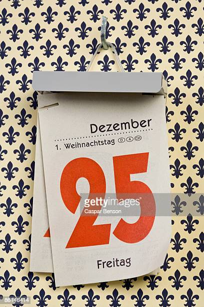 A German daily calendar set on Christmas Day