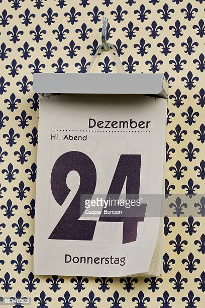 A German daily calendar set on Christmas Eve