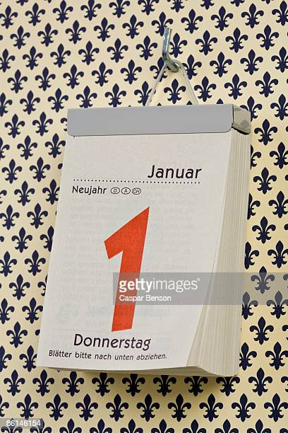 A German daily calendar set on New Year's Day