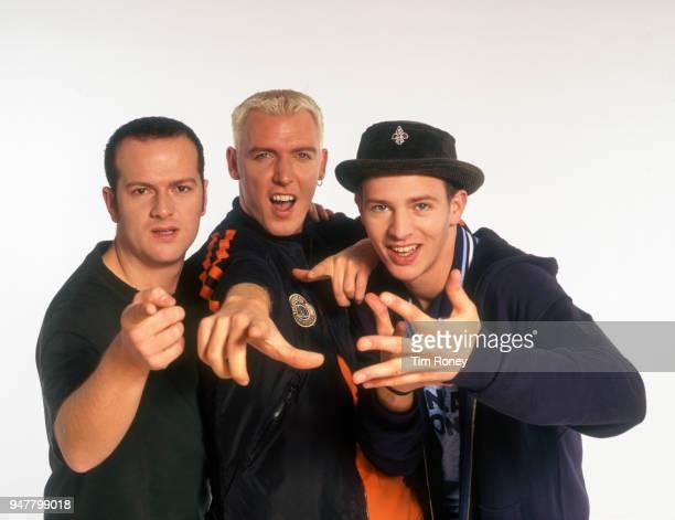 German dance group Scooter, circa 1990; Rick J Jordan, HP Baxxter, Ferris Bueller.