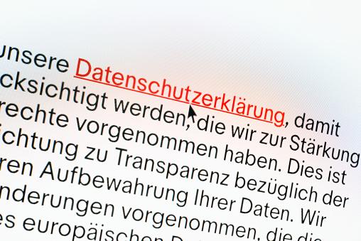 """German """"Datenschutzerklärung"""" information on computer screen - gettyimageskorea"""