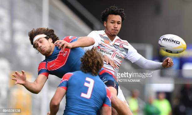 German Davydov of Russia vies for the ball with Taiye Olowofela of England during the Men's Seven's Grand Prix Series Match Russia vs Italy at the...