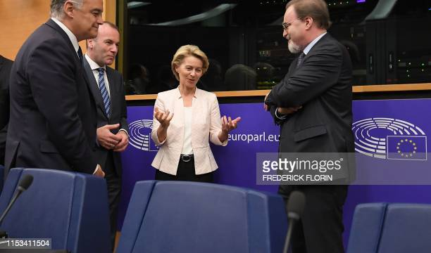German Defence minister and newlyappointed EU commission chief Ursula von der Leyen and EU Parliament's political group EPP president Manfred Weber...