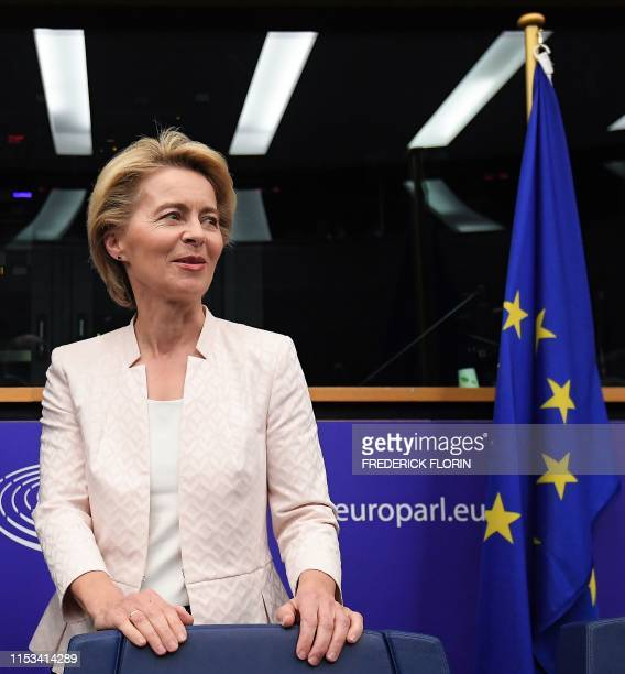 German Defence minister and newlyappointed EU commission chief Ursula von der Leyen arrives for a meeting during the first plenary session of the...