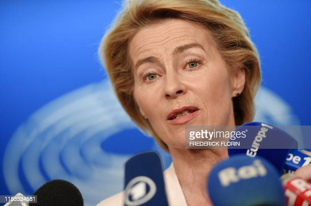 German Defence Minister and newlyappointed EU commission Ursula von der Leyen speaks to journalists during the first plenary session of the newly...