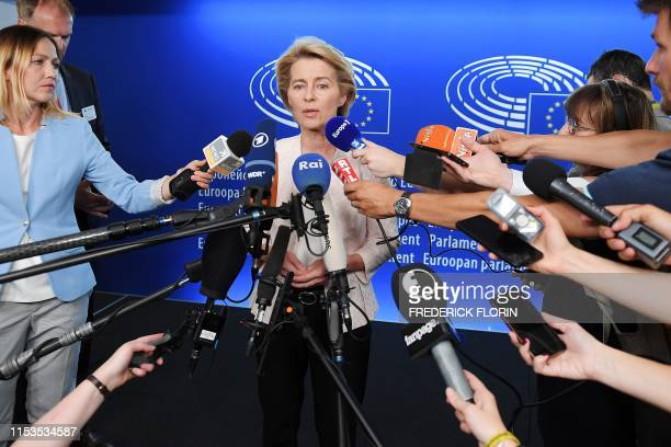 German Defence Minister and newly-appointed EU commission Ursula von der Leyen speaks to journalists during the first plenary session of the newly...