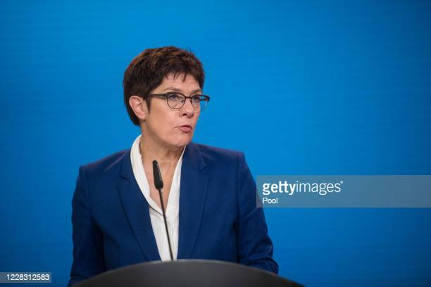German Defence Minister Annegret KrampKarrenbauer addresses a press statement at the Foreign Ministry in Berlin on September 2 2020 in Berlin Germany...