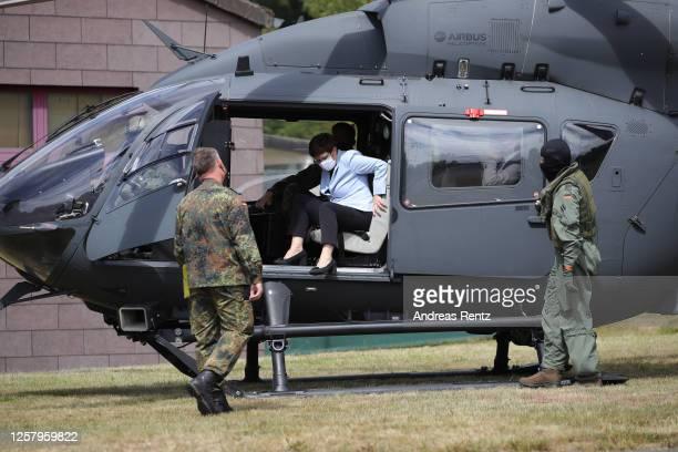 German Defence Minister Annegret Kramp-Karrenbauer arrives in an Airbus Bundeswehr helicopter at the Bundeswehr, the German armed forces, where she...