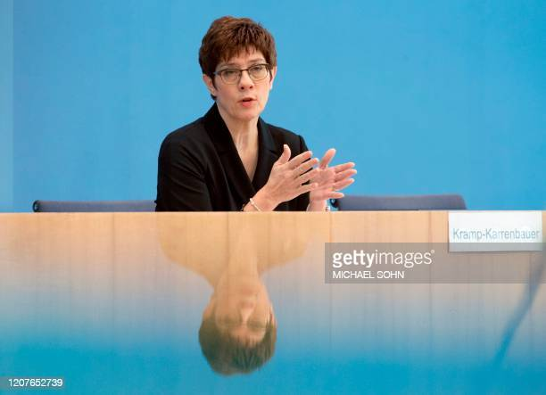 German Defence Minister Annegret Kramp-Karrenbauer gives a press conference in Berlin, Germany, on March 19 where she informed on how the German...