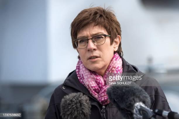 "German Defence Minister Annegret Kramp-Karrenbauer gives a press statement aboard the Boomeranger frigate ""Sachsen-Anhalt"" during her first visit to..."