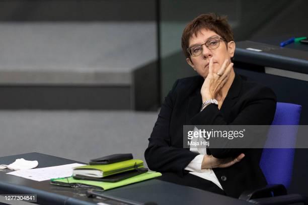 German Defence Minister Annegret KrampKarrenbauer sits during debate in the Bundestag on September 29 2020 in Reichstag building in Berlin Germany...