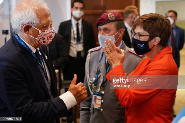 German Defence Minister Annegret-Kramp Karrenbauer greets Josep Borell, High Representative of the European Union for Foreign Affairs and Security...