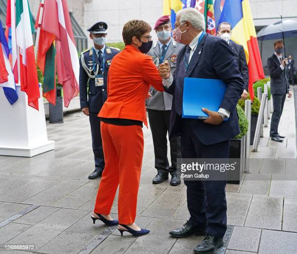 German Defence Minister AnnegretKramp Karrenbauer greets Josep Borell High Representative of the European Union for Foreign Affairs and Security...