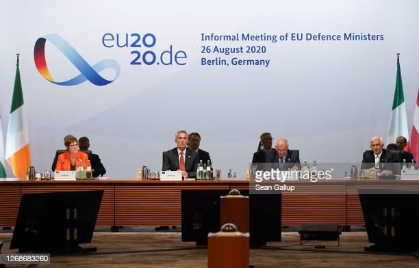 German Defence Minister AnnegretKramp Karrenbauer NATO Secretary General Jens Stoltenberg and Josep Borell High Representative of the European Union...