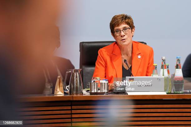 German Defence Minister AnnegretKramp Karrenbauer speaks at a meeting of European Union member states defence ministers on August 26 2020 in Berlin...