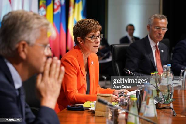 German Defence Minister AnnegretKramp Karrenbauer speaks at a meeting of European Union member states defence ministers as NATO Secretary General...