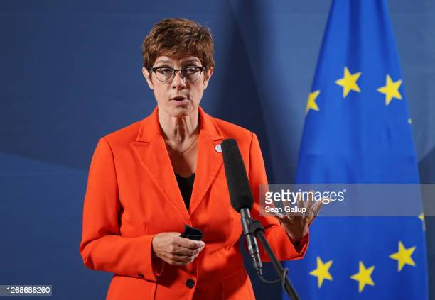German Defence Minister AnnegretKramp Karrenbauer speaks to the media prior to a meeting of European Union member states defence ministers on August...