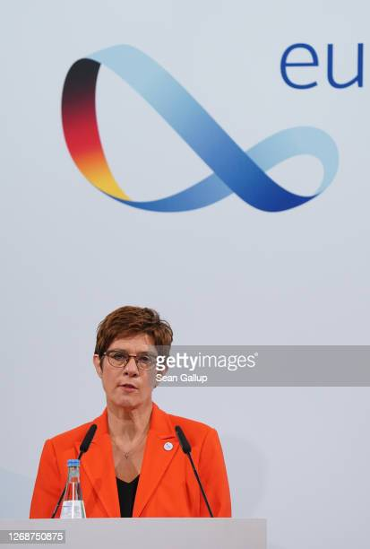 German Defence Minister AnnegretKramp Karrenbauer speaks to the media following a meeting of European Union member states defence ministers on August...