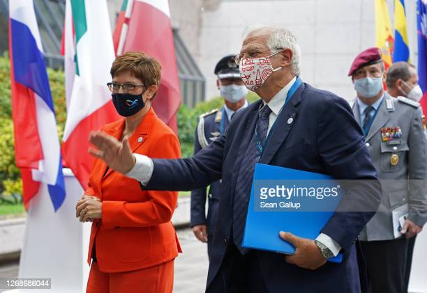 German Defence Minister AnnegretKramp Karrenbauer walks with Josep Borell High Representative of the European Union for Foreign Affairs and Security...
