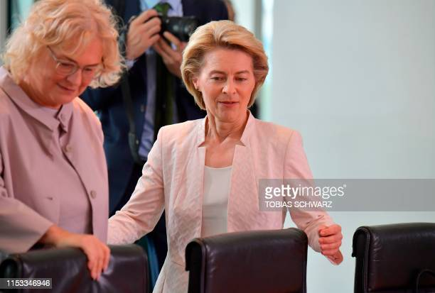 German Defence Minister Ursula von der Leyen and German Justice Minister Christine Lambrecht arrive to attend the weekly cabinet meeting at the...