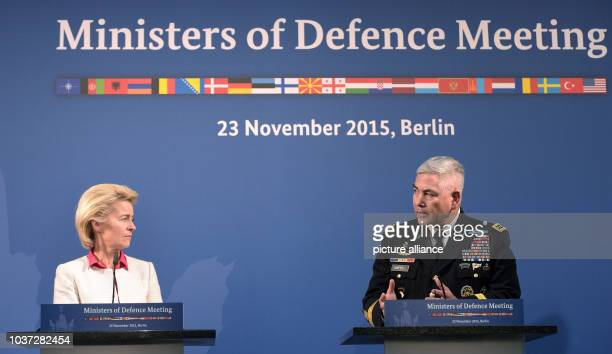 German Defence Minister Ursula von der Leyen and the Commander of the Resolute Support Mission General John F Campbell during a press conference...